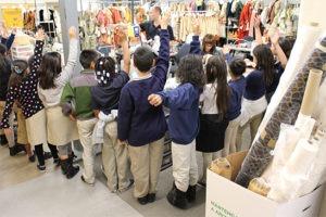 children in costume shop